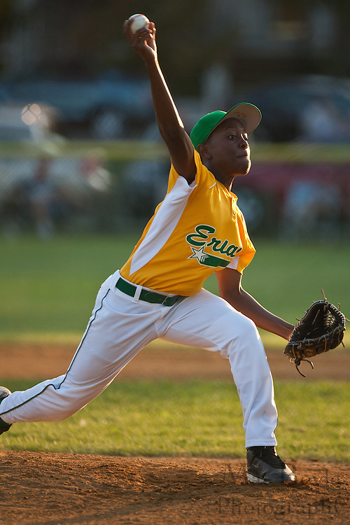 Erial's Adam Holland throws a strike in the second inning during the District 14 Little League final against Audubon held in Gloucester on Wednesday July 13th.