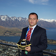 Georgia captain Irakli Abuseridze  with his World Cup cap with The Remarkables mountain range providing a stunning backdrop during the Georgia Rugby Teams official Civic welcome and cap presentation at Skyline.  Queenstown, New Zealand, 6th September 2011. Photo Tim Clayton..