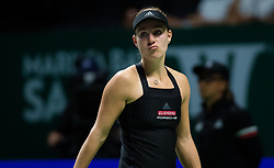 October 23, 2018 - Kallang, SINGAPORE - Angelique Kerber of Germany in action during her first match at the 2018 WTA Finals tennis tournament (Credit Image: © AFP7 via ZUMA Wire)
