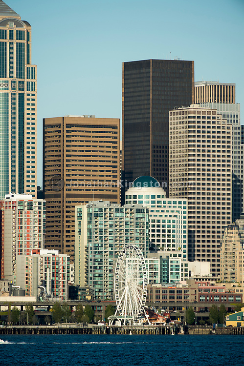 View of the skyline of Seattle from the harbor.