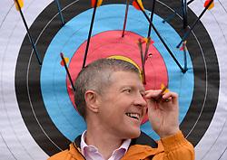 Pictured: Scottish Liberal Democrat leader Willie Rennie tried his hand at archery on a campaign visit to Ainslie Park leisure centre in Edinburgh.<br /> <br /> © Dave Johnston / EEm