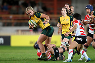 SYDNEY, AUSTRALIA - JULY 19: Arabella McKenzie (22) of the Wallaroos tries to break the tackle during the second rugby test match between the Australian Wallaroos and Japan on July 19, 2019 at North Sydney Oval in Sydney, Australia. (Photo by Speed Media/Icon Sportswire)