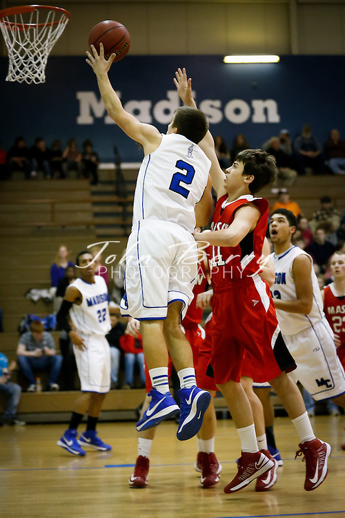 January/16/13:  MCHS Varsity Boys Basketball vs George Mason.  The Mustangs win 56-45.  Matt Temple with 26 points for Madison.