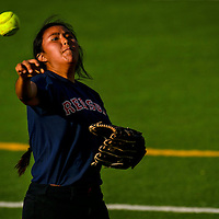 Danielle Silversmith throws the ball during the Royal-Red Sox game on Tuesday at Ford Canyon Park in Gallup.
