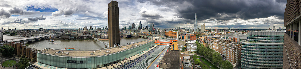 London skyline from the panoramic terrace at the 10th floor of the new extension of the Tate Modern gallery. Shot with an iPhone in panorama mode