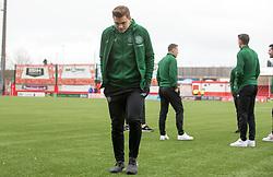 man of the moment CelticÕs James Forrest checks out the plastic pitch prior to the Ladbrokes Scottish Premiership match at Hope CBD Stadium, Hamilton.