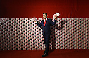 "NANJING, CHINA - DECEMBER 24:  China Out - Finland Out<br /> <br /> A Billionaire And His ""Money Wall"" <br /> <br /> Chinese billionaire and philanthropist Chen Guangbiao, Chairman of Jiangsu Huangpu Recycling Resources Co., Ltd, poses at a temporary television studio decorated with 16 tons of 100-yuan bank notes to promote the upcoming national economic census on December 24, 2013 in Nanjing, Jiangsu province of China. The cash was transported to the studio in a large truck and it took 20 people five hours to decorate the tent-turned-TV-studio with the cash. Chen has used money as a background for his charitable promotions since 2010. ""This is the sixth time for me to use money as background,"" he said, ""The amount of money is the largest this time and it will also be the last time.""<br /> ©Exclusivepix"