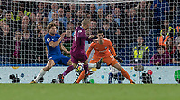 Football - 2017 / 2018 Premier League - Chelsea vs Manchester City<br /> <br /> David Silva (Manchester City) sees his shot blocked by Marcos Alonso (Chelsea FC) at Stamford Bridge <br /> <br /> COLORSPORT/DANIEL BEARHAM