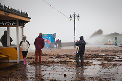 © Licensed to London News Pictures. 01/01/2014. Southsea, UK. Debris blown on to the promenade  by string winds at Southsea, Hampshire, UK on New Years Day 2014. Photo credit : Rob Arnold/LNP