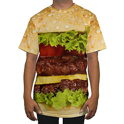 June 14, 2017 - inconnu - Here's some tasty-looking onesies – inspired by fast food.The wacky food print outfits feature one showing a hot dog sausage covered in mustard and sandwiched between a long bun.A second shows a pepperoni pizza print.A third features a double hamburger in a bun with cheese.They are called Belovesies and zip up all the way up to cover the wearer's face.Both hand-made garments have been created by US fashion label Beloved Wear from California and cost $129 USD / €115 Euros / £100 GBP and can be shipped abroad.For those who don't want the full immersive food experience, there is a pizza print t-shirt for $40 USD / €35 Euros/ £31 GBP and others featuring the burger and one with a portion of French fries for the same price.For people who want something less appetising, there a Belovesie modelled on North Korean leader Kim Jong Un.A Beloved Wear spokesman said its all over designs are printed on ultra-soft fabric and then individually sewn together to ensure the graphic looks good and fits comfortably. # DROLES DE COMBINAISONS (Credit Image: © Visual via ZUMA Press)