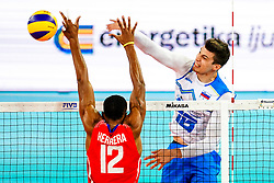 Klemen Cebulj of Slovenia vs Jesus Herrera Jaime of Cuba during volleyball match between Cuba and Slovenia in Final of FIVB Volleyball Challenger Cup Men, on July 7, 2019 in Arena Stozice, Ljubljana, Slovenia. Photo by Matic Klansek Velej / Sportida
