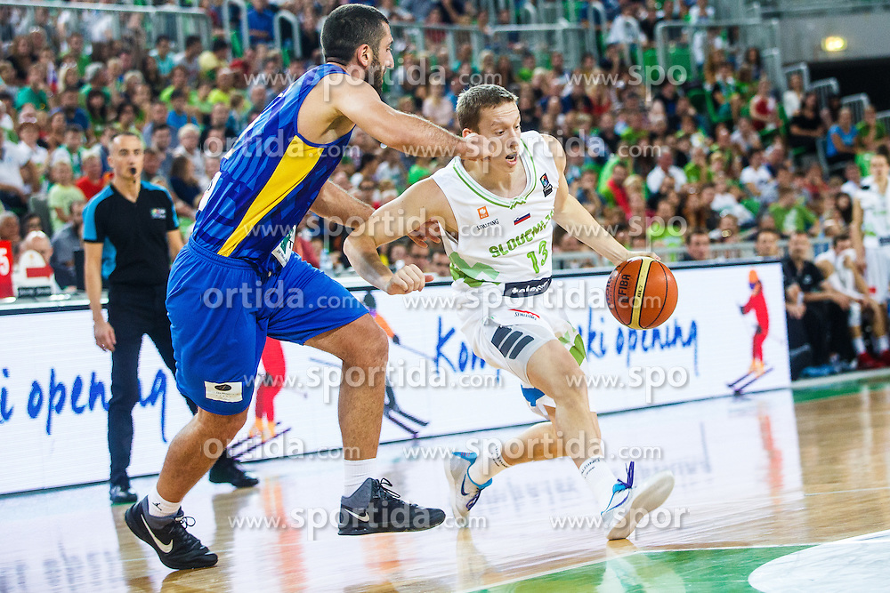 Miha Lapornik of Slovenia during qualifying match between Slovenia and Kosovo for European basketball championship 2017,  Arena Stozice, Ljubljana on 31th August, Slovenia. Photo by Grega Valancic / Sportida