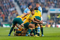 Australia Scrum-Half Will Genia passes - Mandatory byline: Rogan Thomson/JMP - 07966 386802 - 25/10/2015 - RUGBY UNION - Twickenham Stadium - London, England - Argentina v Australia - Rugby World Cup 2015 Semi Finals.