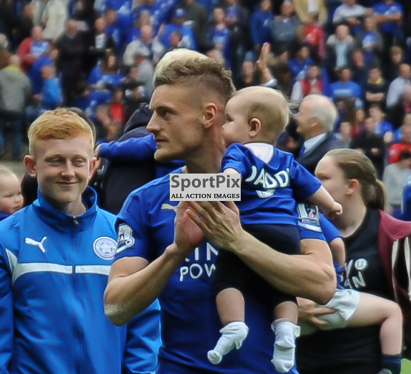 Jamie Vardy with his son on the lap of honour after the final whistle (c) Simon Kimber | SportPix.org.uk
