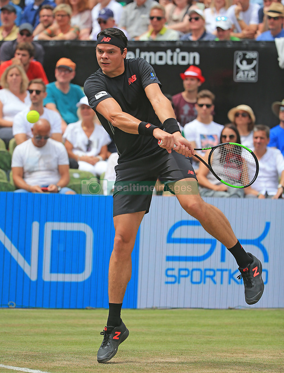 STUTTGART, June 17, 2018  Milos Raonic of Canada returns a shot during the singles final against Roger Federer of Switzerland at ATP Mercedes Cup tennis tournament in Stuttgart, Germany on June 17, 2018. Roger Federer won 2-0 to claim the title. (Credit Image: © Philippe Ruiz/Xinhua via ZUMA Wire)