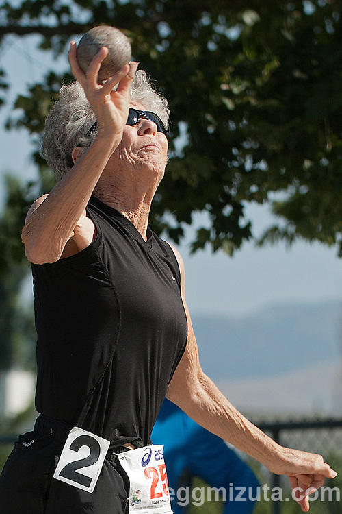 Margaret Conner throws the shot during the Idaho Senior Games at Timberline High School in Boise, Idaho on August 3, 2013. Conner finished first in the W75 Division with a throw of 13-09.50.