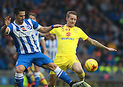 Brighton central midfielder Beram Kayal & MK Dons midfielder Carl Baker battle for possession during the Sky Bet Championship match between Brighton and Hove Albion and Milton Keynes Dons at the American Express Community Stadium, Brighton and Hove, England on 7 November 2015. Photo by Bennett Dean.