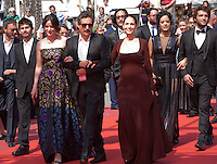 Producer Emilie Lesclaux, director Kleber Mendonca Filho and actress Sonia Braga at the gala screening for the film Aquarius at the 69th Cannes Film Festival, Tuesday 17th May 2016, Cannes, France. Photography: Doreen Kennedy