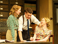London Wall.by John Van Druten .directed by Tricia Thorns.at The St. James Theatre, London, Great Britain, Eleanor Yates as Miss Hooper .Craig Vye as Birkinshaw.Mia Austen as Miss Bufton,  7th May 2013 . Photo by Elliott Franks / i-Images...
