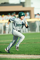 KELOWNA, BC - JULY 24: Luke Schwartz #12 of the Yakima Valley Pippins runs for first base against the the Kelowna Falcons at Elks Stadium on July 24, 2019 in Kelowna, Canada. (Photo by Marissa Baecker/Shoot the Breeze)