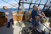 Setting Sails aboard the Sea Cloud, Amorgos in background.