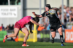 Thomas Waldrom of Exeter Chiefs looks to get past Seb Stegmann of London Welsh - Photo mandatory by-line: Patrick Khachfe/JMP - Mobile: 07966 386802 07/03/2015 - SPORT - RUGBY UNION - Exeter - Sandy Park - Exeter Chiefs v London Welsh - Aviva Premiership