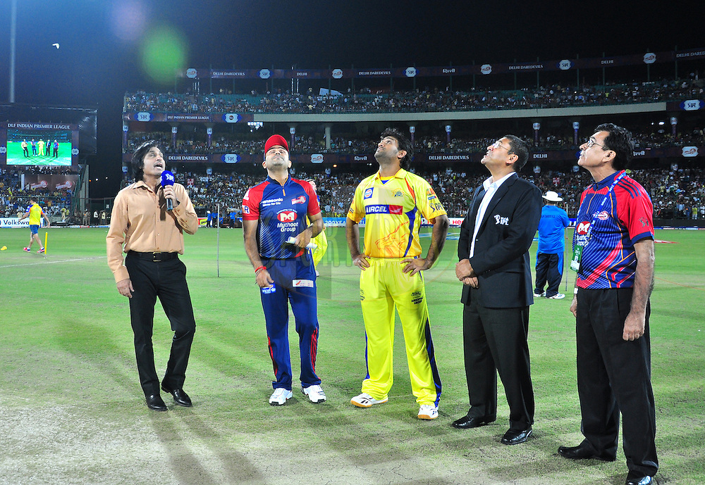 The Delhi Daredevils captian Virender sehwag and the Chennai Superkings captian MS dhoni during toss match 11 of the the Indian Premier League ( IPL) 2012  between The Delhi Daredevils and the Chennai Superkings held at the Feroz Shah Kotla, Delhi on the 10th April 2012Photo by Arjun Panwar/IPL/SPORTZPICS