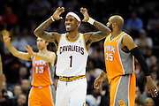 Jan. 19, 2011; Cleveland, OH, USA; Cleveland Cavaliers point guard Daniel Gibson (1) throws up his arms in protest during the fourth quarter against the Phoenix Suns at Quicken Loans Arena. The Suns beat the Cavaliers 106-98. Mandatory Credit: Jason Miller-US PRESSWIRE