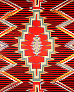 0108-1034 ~ Copyright: George H. H. Huey ~ Detail of historic Navajo Indian weaving. Hubbell Trading Post, founded 1878. Hubbell Trading Post National Historic Site, Arizona.