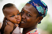 Mother and her child in the village of Wantugu, northern Ghana on Friday March 27, 2009.
