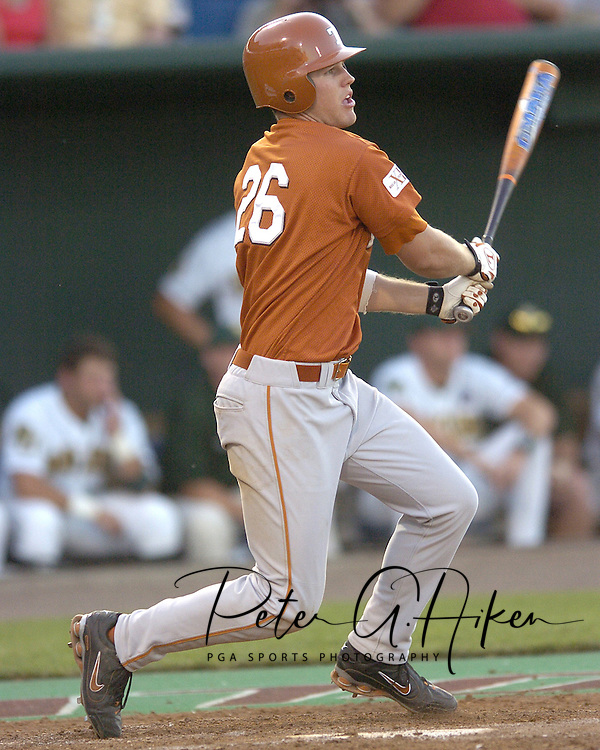 Texas DH Will Crouch doubles to center field in the eighth inning against Baylor.  Texas defeated Baylor in the first round of the College World Series 5-1 at Rosenblatt Stadium in Omaha, Nebraska on June 18, 2005.