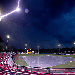 June 05, 2011; Tallahassee, FL, USA; Lightning strikes at the stadium during a suspension of play due to severe weather during the Tallahassee regional of the 2011 NCAA baseball tournament between the Florida State Seminoles and the Alabama Crimson Tide at Dick Howser Stadium. Mandatory Credit: Derick E. Hingle