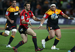 Crusaders' Adam Whitelock in action against the Chiefs in a Super Rugby match, Waikato Stadium, Hamilton, New Zealand, Friday, July 06, 2012.  Credit:SNPA / David Rowland
