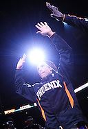 Oct. 29 2010; Phoenix, AZ, USA; Phoenix Suns guard Steve Nash (13) is given a high five by a teammate during pre game activities against the Los Angeles Lakers at the US Airways Center. The Lakers defeated the Suns 114-106.  Mandatory Credit: Jennifer Stewart-US PRESSWIRE.