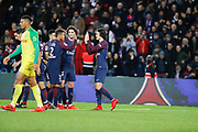 Edinson Roberto Paulo Cavani Gomez (psg) (El Matador) (El Botija) (Florestan) sccored the first goal, celebration with Thiago Silva (PSG), Adrien Rabiot (psg), Yuri Berchiche (PSG), Angel Di Maria (psg), Neymar da Silva Santos Junior - Neymar Jr (PSG) during the French Championship Ligue 1 football match between Paris Saint-Germain and FC Nantes on November 18, 2017 at Parc des Princes stadium in Paris, France - Photo Stephane Allaman / ProSportsImages / DPPI