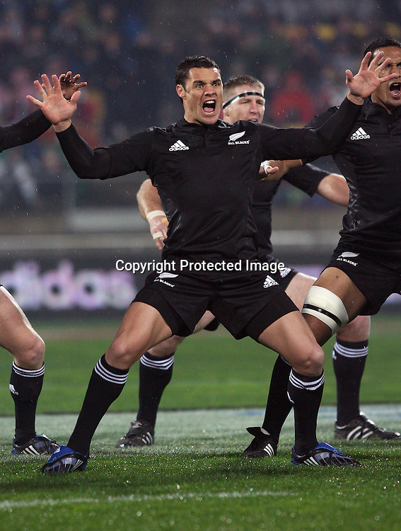Dan Carter performs the Haka. Philips Tri Nations, All Blacks vs South Africa, Westpac Stadium, Wellington, New Zealand, Saturday 5 July 2008. Photo: Marc Weakley/PHOTOSPORT