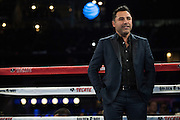 Oscar De La Hoya steps into the ring before the Canelo Alvarez v Liam Smith fight at AT&T Stadium in Arlington, Texas on September 17, 2016.  (Cooper Neill for ESPN)