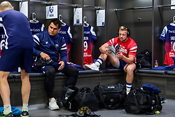 George Smith of Bristol Bears and Andy Uren of Bristol Bears in the changing room prior to kick off - Mandatory by-line: Ryan Hiscott/JMP - 29/09/2018 - RUGBY - Ashton Gate Stadium - Bristol, England - Bristol Bears v Northampton Saints - Gallagher Premiership Rugby