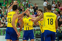 Players of Brasil during friendly volleyball match between national teams of Slovenia and Brasil in Arena Stozice on 9. September 2015 in , Ljubljana, Slovenia. Photo by Grega Valancic / Sportida