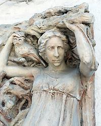 Statue of Greek poet Sappho at small village of Skala Eresou on Lesvos Island in Greece