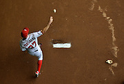 Washington Nationals pitcher Stephen Strasburg warms-up in the bullpen prior to the Nationals game against the Atlanta Braves at Nationals Park in Washington, D.C.