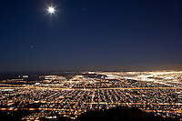 El Paso looking east at night from the top of Mount Franklin, Wyler Tramway State Park, Texas.