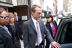 © London News Pictures. 02/05/2012. London, UK. Ian and  Ellen Williams, parents of Gareth Williams  leaving Westminster Coroner's Court in London on May 2, 2012 on the final day of an inquest in to the death of British codebreaker Gareth Williams. The  coroner gave a narrative verdict ruling that Williams was unlawfully killed by a third party 'on the balance of probabilities'. Photo credit : Ben Cawthra /LNP
