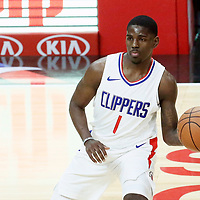 26 December 2017: LA Clippers guard Jawun Evans (1) passes the ball during the LA Clippers 122-95 victory over the Sacramento Kings, at the Staples Center, Los Angeles, California, USA.