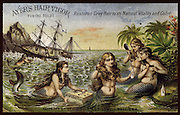 Vintage Illustration: Sexy Mermaids rescue a case of Ayer's Hair Vigor from a shipwreck. They are grooming their beautiful hair as the ship flounders on the rocks.  Victorian Trade Card Advertisement circa 1880