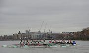 Putney, Great Britain.  CUBC, left during the 2015 Pre Boat Race Fixture, Cambridge University Women's Boat Club vs Imperial College Women's Boat Club, Championship Course, River Thames.  England. <br /> {DOW{  {DATE}<br /> <br /> [Mandatory Credit; Peter Spurrier/Intersport-images]<br /> Crews: CUWBC:<br /> b) Hannah Evans, 2) Ashton Brown, 3) Caroline Reid*, 4) Claire Watkins*, 5) Melissa Wilson*, 6) Holly Hill, 7) Hannah Roberts, stroke, Fanny Belais and Cox, Rosemary Ostfeld.<br /> <br /> ICBC:<br /> Bow Sara PARFETT, 2. Jo THOM, 3. Victoria WATTS, 4Georgina FRANCIS,5. Michelle VELIE, 6. Ruth WHYMAN, 7. Isa von LOGA, Stroke Rebecca SHORTEN, and Cox. Sophie SHAWDON.