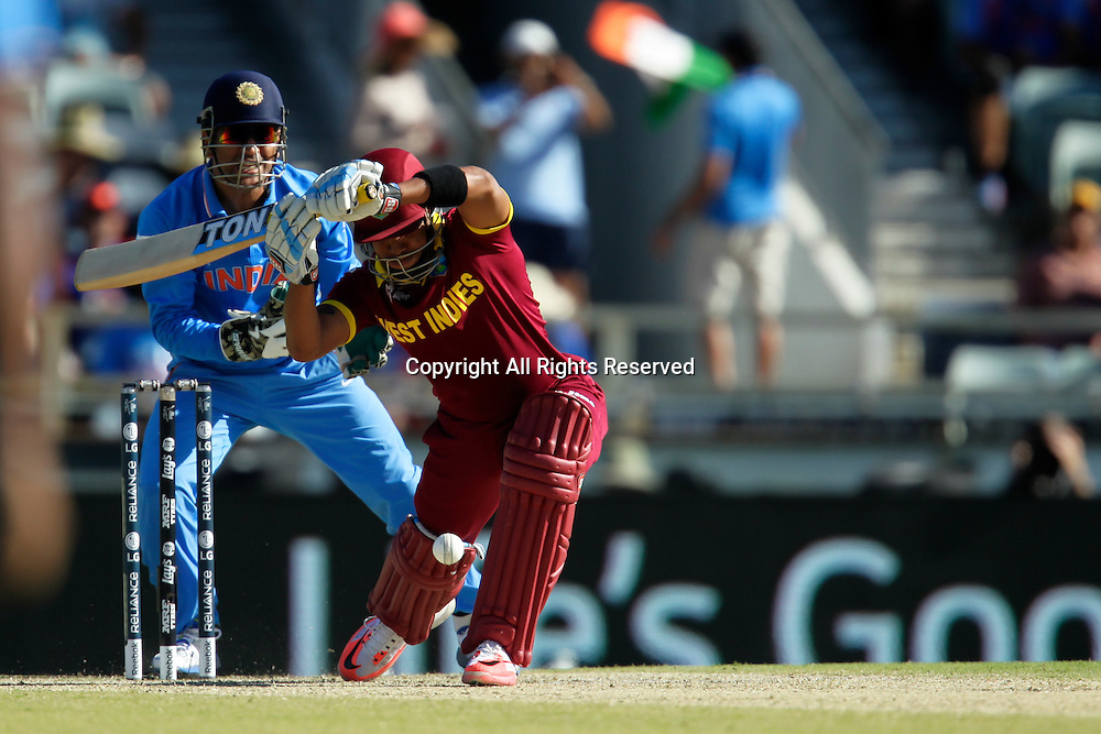 06.03.2015. Perth, Australia. ICC Cricket World Cup. India versus West Indies. Lendl Simmons defends during his innings.