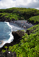 Black Sand Beach, at Waianapanapa State Park in Hana, Maui, Hawaii