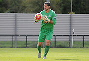 Julian Speroni holds onto the ball during the U21 Professional Development League match between Crystal Palace U21s and Huddersfield U21s at Imperial Fields, Tooting, United Kingdom on 7 September 2015. Photo by Michael Hulf.