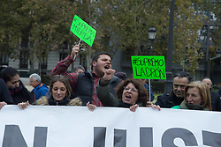 November 10, 2018 - Madrid, Spain - Anti-eviction activists seen showing their anger at the decision of the Supreme Court to protect banks during the protest..Hundreds of people from all parts of Spain protest against the Spanish Supreme Court decision of clients and not the banks to pay the tax on mortgages. (Credit Image: © Lito Lizana/SOPA Images via ZUMA Wire)